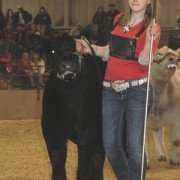 Danielle Heintz, 15, from Auglaize County, leaves the ring with her champion Chianina steer.
