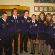 The 2011-2012 Amanda-Clearcreek FFA Officer team poses for a photo after being elected.