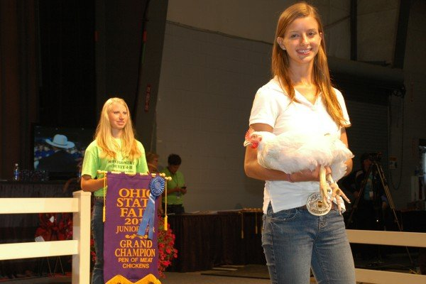 The 2011 Grand Champion Meat Chickens were exhibited by Emily Myers from Montgomery County. The pen of meat chickens was purchased by Cox, Event Marketing Strategies and Amusements of America for $17,000. Reggie Regula, Logan County, had the Reserve Grand Champion Meat Chickens that were purchased by Kroger for $16,000.