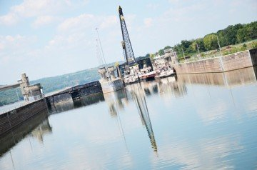 This lock on the Ohio River lowers barges around 25 to the water level below the dam.