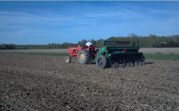 Creek Side Farms in Ashtabula County drilling beans.