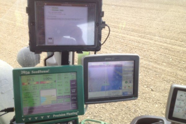 Jeff Weubker of Versailles is over half day as of May 9th. This is the view in his cab. He has his ipad hooked up to his planter, but also likes to utilize it stay caught up on emails while planting.
