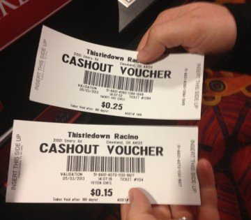 I wagered $1 and retained 40 cents. I'm not a big gambler, but I did enjoy attending the racino.
