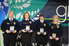 Star in Agriscience, Thomas Shaw; Star Greenhand, Olivia McDade; Star Ag Placement, Colton Sherry; and Star Agribusiness, Alyssa Garber.