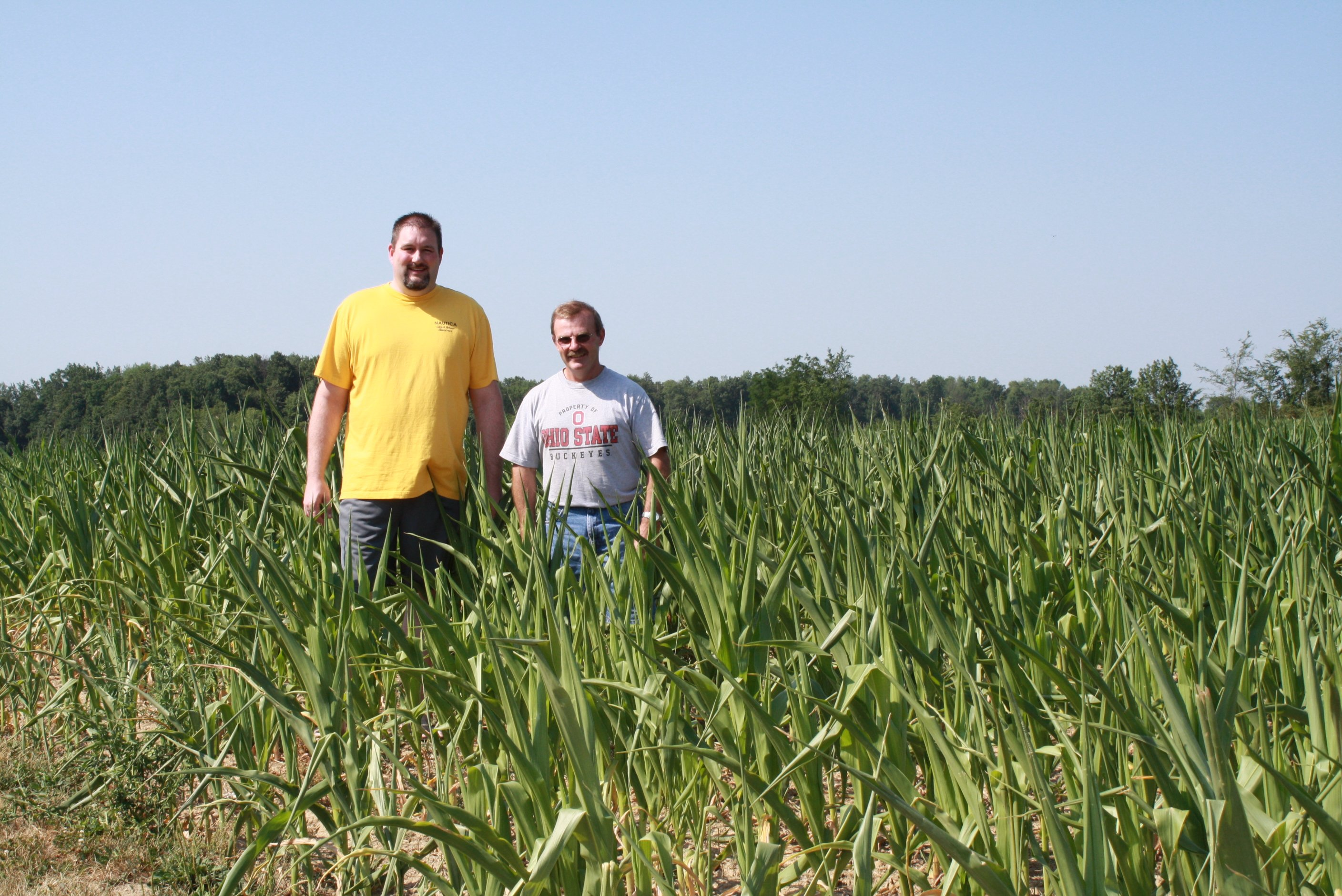 A photo I made sure to snap of the drought of '12 on July 4, 2012 of my husband and my dad in the corn field next to my parents house.