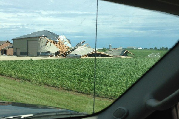 A building outside of St. Henry destroyed by wind.