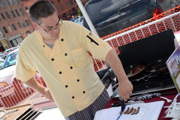 Paul Marker from Barcelona preparing the lamb bacon for his delicious entry.
