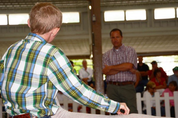 Judge Cade Wilson from Brownwood, Texas looks over the Suffolk lamb exhibited by Trent Wikel from Berlin Heights.