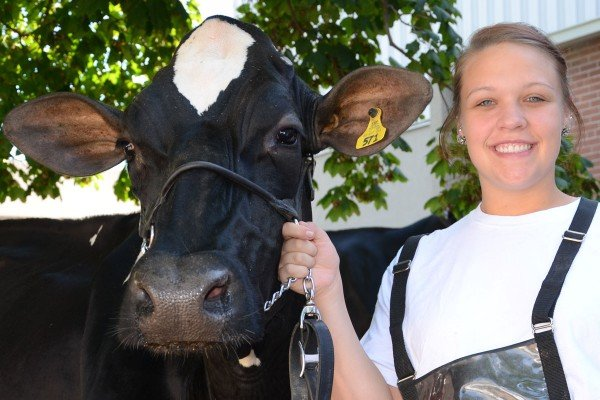Katelynn McDaniel, 19, from Clark County, won her class with Fifi in the Junior Holstein Show.