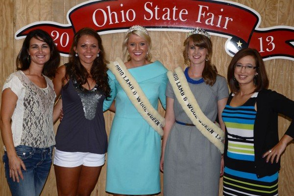 Former Ohio Lamb and Wool Queens (and the current one) pose for a photo together at the fair.