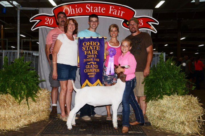 The grand champion was exhibited by Michaela Ambos, 11, from Shelby County, with her Middle Weight Champion.