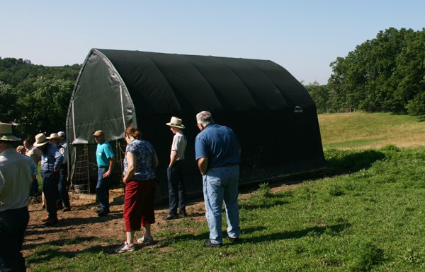 This shelter houses lambing jugs during lambing season on the Yoder farm.