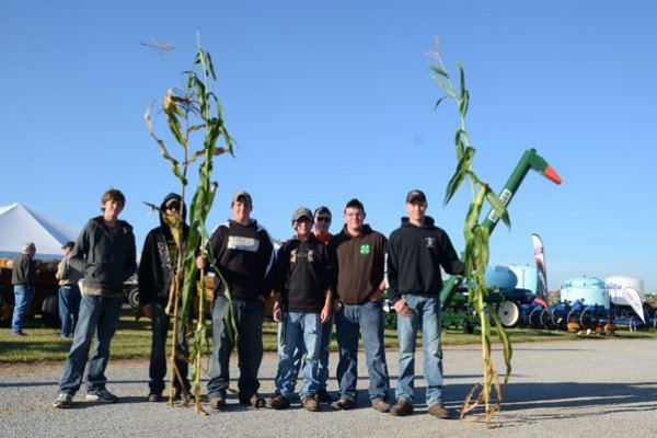 Donald Kissling, Ponyboy Outram, Hayden Ackley, Tyler Tevis, Patrick Willis, Kyle Ackley, and Preston Miller from the Benjamin Logan FFA entered these in the OCWGA tallest corn stalk contest.
