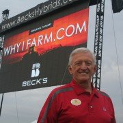 Sonny Beck greets customers at the Beck's Hybrids site adjacent to the Review.