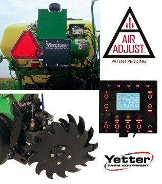 The Air Adjust system with the Pneumatic Hydraulic Control Kit (top left) allows for precise adjustments to be made from the controller in the tractor cab (middle right), making it convenient to change the residue manager's (bottom left) up and down pressure settings.