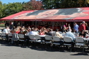 Guests eating at the Chew on This Tour held recently at Ohio State