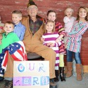 My children, nieces and nephews with my grandpa Frank Deeds who served in WWII.