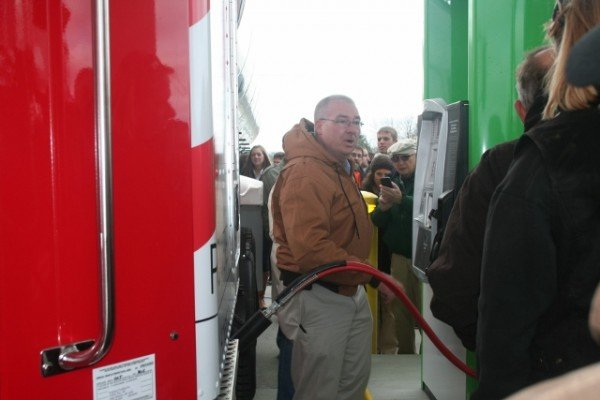 After the ribbon cutting, a demonstration of a CNG fill up was done at the new Kalmbach Clean Fuels station.