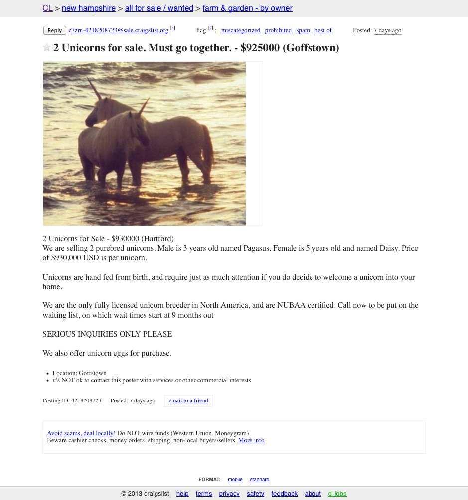 Unicorns for sale on craigslist ohio ag net ohio 39 s - East texas craigslist farm and garden ...
