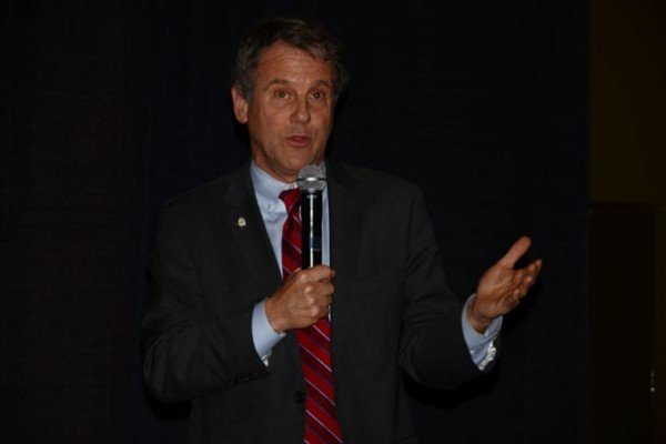 Sen. Sherrod Brown stopped by for some comments about the progress of the  farm bill.