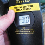 For my horses, I find that if my digital tester reads around 3.0., the horses stay away from the fence. I have accidentally touched the fence when it was tested at around the 3.0 level, and I can tell you that it gives out quite a zap.
