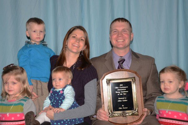 Allen Gahler (pictured with his family) was recognized as the Young Cattleman of the Year