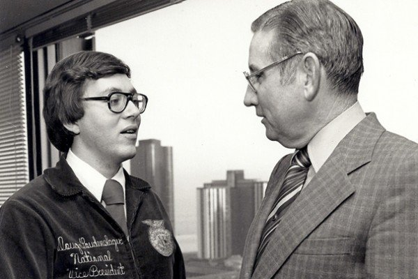 Doug Loudenslager met with J. Patrick Kaine, President of the Agricultural Division of International Harvester, in 1976.