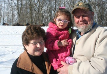Bob and Bev Sexten and their Granddaughter Chloe show off their bison heard in Grove City, Ohio