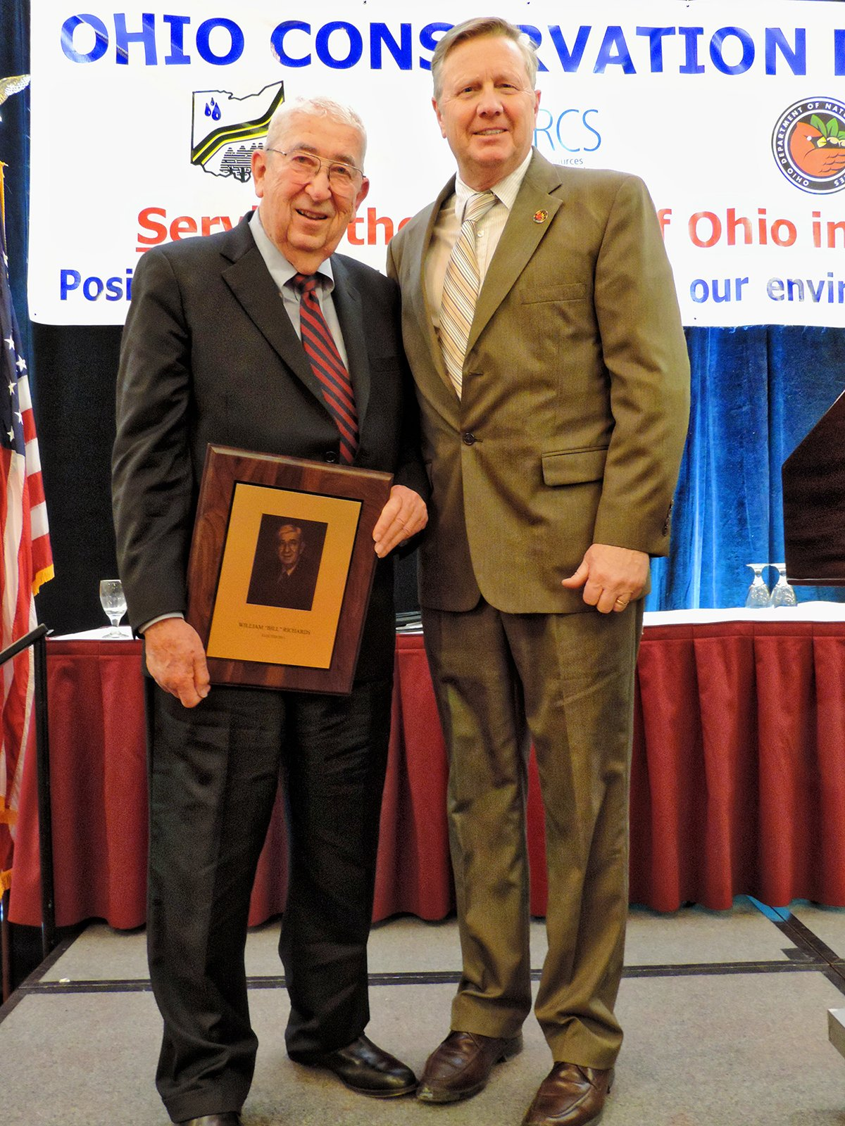 Bill Richards, left, being recognized by ODNR.