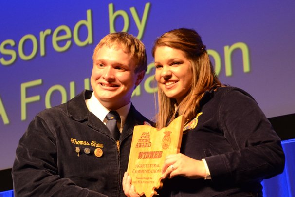 Thomas Shaw is a national finalist in the Agricultural Communications proficiency.