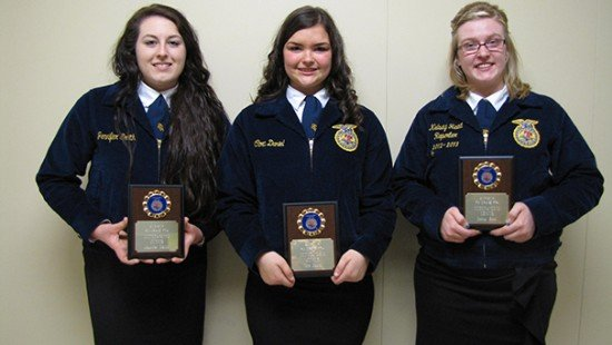 Outstanding Members: L to R: Jen Smith, Cora Daniel, and Kelsey Reed