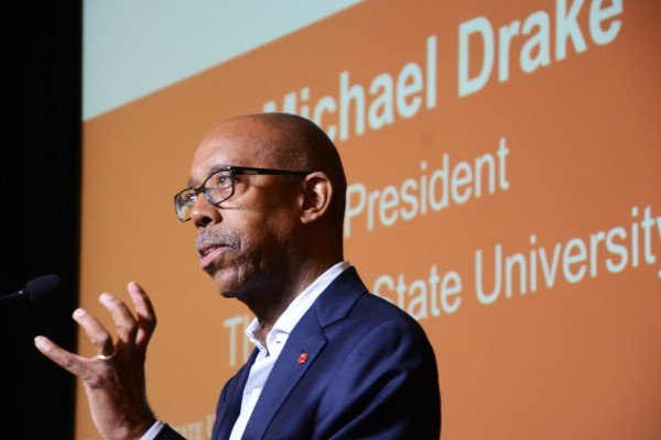 OSU president Michael Drake spoke at the luncheon on the first day.