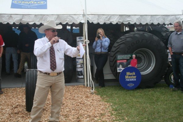Auctioneer Johnny Regula helped out with the tire auction at Titan Tire's display at Farm Science Review. All of the proceeds went to The Ohio FFA Foundation.