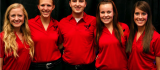 The National Beef Ambassadors (Left to Right) Kalyn McKibben, Rachel Purdy, Will Pohlman, Alicia Smith, and Demi Snider