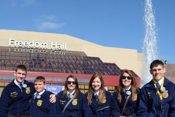 Liberty Center FFA members enjoy the sunshine outside.