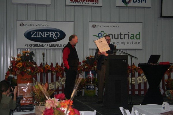 Ohio Speaker Batchelder presents Paul Kalmbach with a certificate at the Open House of Kalmbach's new packaging facility