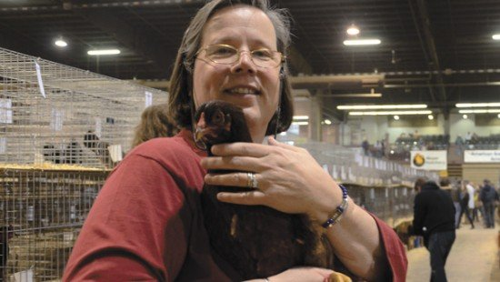Laura Haggarty, the treasurer for the American Buckeye Club, loves the all around performance and hardiness of her Buckeye hens.