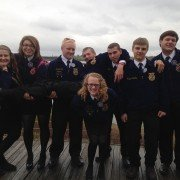 A-C FFA members pose for a photo at the Falls of Ohio State Park in Indiana while attending the National FFA Convention. Pictured from left to right are: Susan Householder, Tierra Tooill, Austin Stai, Cody Roark, Tyler Hopper, Jesse Schooley, and Devon Mullen