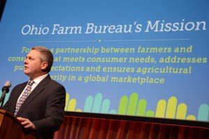 President Steve Hirsch addresses the attendees at the 2014 Ohio Farm Bureau Annual Meeting.