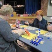 Sue Deaton (left) and Kathy Van Cauwenbergh (right) played Basket Bingo at the FFA Alumni Basket Bingo.