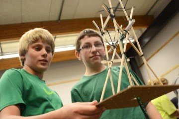Circleville 7th graders Alex Turnbull and Austin Hulse hold up their windmill.