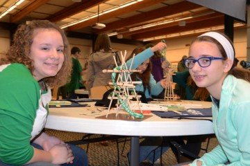 Circleville 7th graders Bethany Tolbert and Crystal Miner get ready to test their windmill