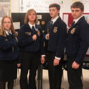 Members of the Zane Trace FFA Agriculture Sales team:  Ann Shelby, Olivia Pflaumer, Kevin Daubenmire and Nathanael Freeman
