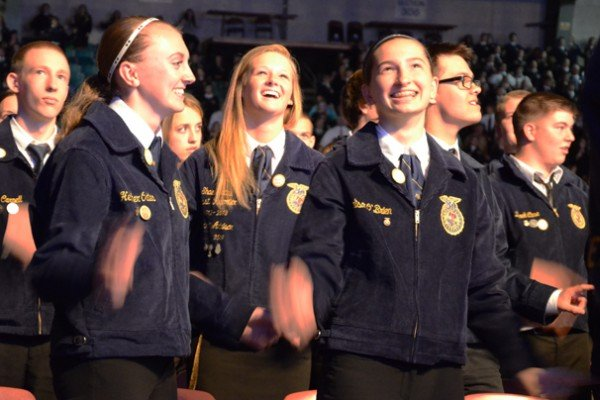 FFA members are following the instructions of speaker Curtis Zimmerman