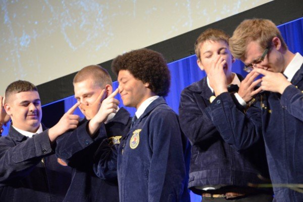 FFA members participate in a challenging game of Simon Says.