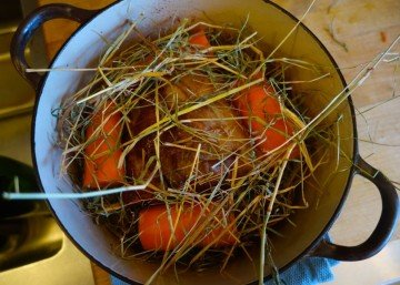 Pork and big carrots ready to be sealed into the casserole (Photo by Edward Schneider.)