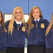 The May 2015 FFA Members of the Month for the Miami East-MVCTC FFA Chapter are (L to R) Madeline Davis, Olivia Edgell, Riann Kingrey, and Casey Copeland.