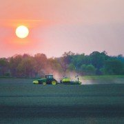 corn planting sunset