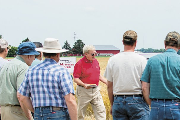 Larry Craft, Schlessman Seed Company Sales Manager talks about one of the wheat varieties.