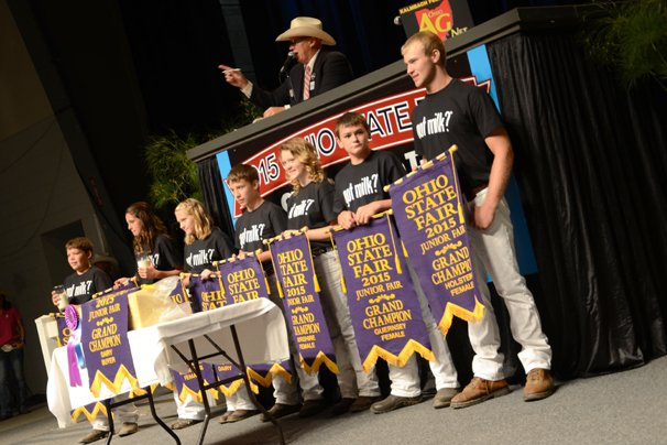 The Grand Champion Swiss Cheese represents the exhibitors Kinley Topp, Shelby County; Kyle Ackley, Logan County; Grace Hageman, Shelby County; Blake Greiwe, Logan County, Supreme Showman; Madelyn Topp, Auglaize County; Keenan Wolf, Wayne County; and Lane Greiwe, Logan County and sold to S&S Volvo and AG Boogher and Sons for a record-breaking $25,000.